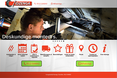 Mobile first website garage Idzenge Drachten mobiel