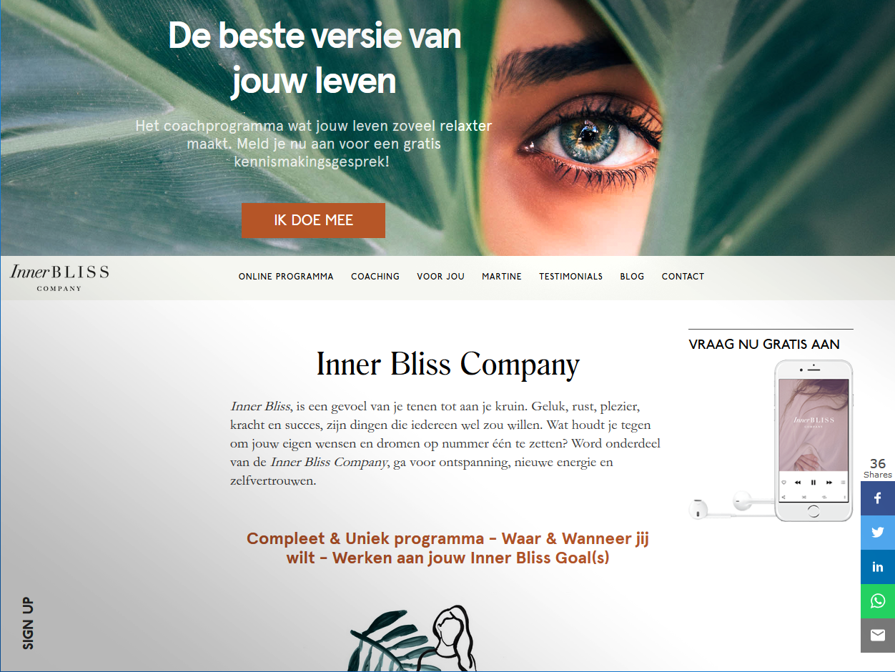 Nieuwe website Inner Bliss Company Martine Hilverda